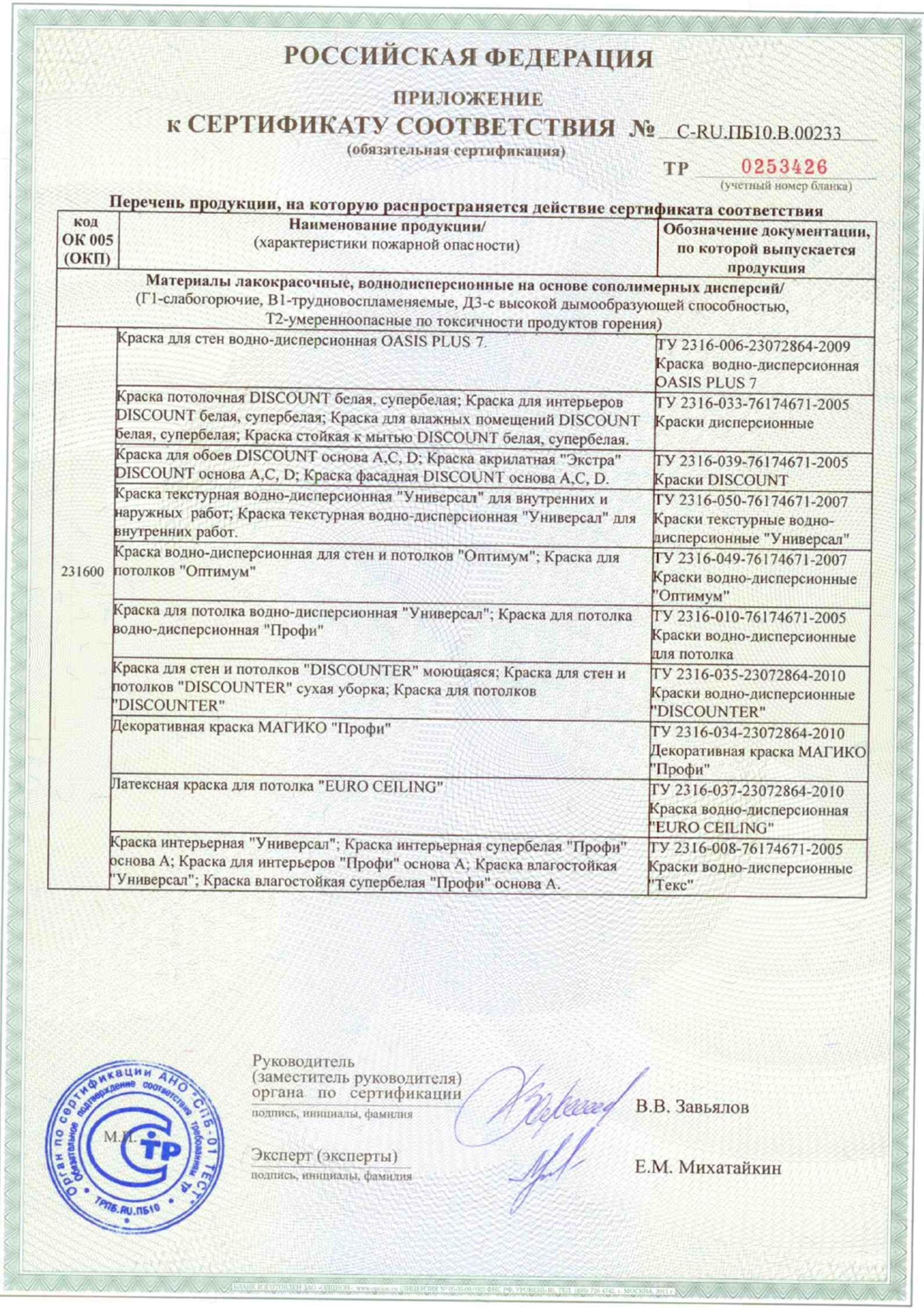 Сертификат На Вд-Краску Оптимист